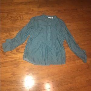 St Johns Bay Blue Denim Long Sleeve Jeans Shirt XL